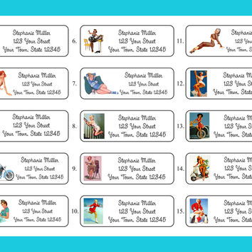 PIN UP GIRLS Designs Return Personalized ADDRESS Labels