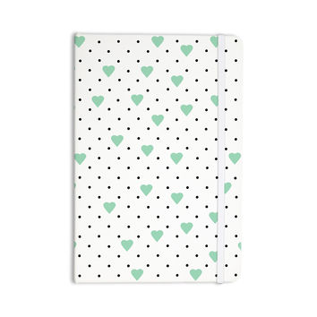 "Project M ""Pin Point Polka Dot Mint"" Green White Everything Notebook"