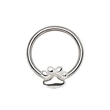 316L Stainless Steel Dog Puppy Paw Snap-in Captive Bead Ring / Septum Ring