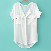 Casual Solid Color Chiffon Shirt