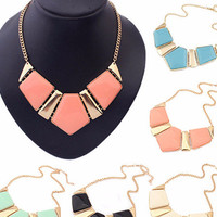 Geometric Cut Chain Collar Necklace