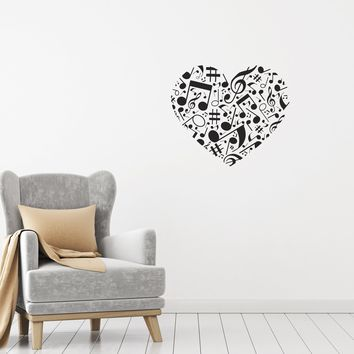 Vinyl Wall Decal Music Love Heart Notes Home Decor Unique Gift Stickers Mural (g012)