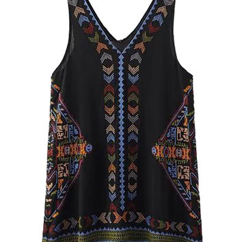 Black V-neck Embroidery Tassel Shift Dress