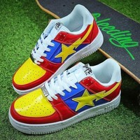 PEAPNW6 Bape Sta Sneakers Blue Yellow Shoes