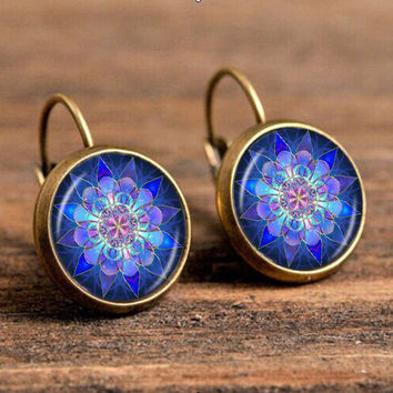 hot sell jewelry earrings om symbol buddhism zen glass rhinestone earring bloom mandala lotus earrings jewelry for women c-e194