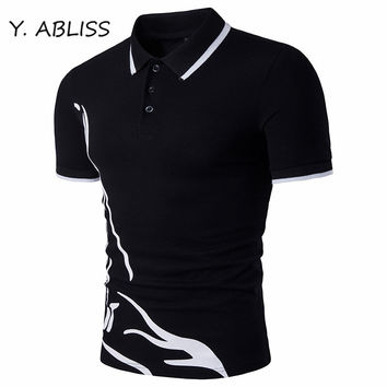 Y.ABLISS 2017 Fashion Men Polo Shirt Cotton Mens polo Brands Man Short Sleeve Casual polos Geometric Printed Breathable Tops