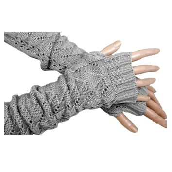 Women Winter Long Gloves Knitted Fingerless Gloves Half Triangle Hollow Arm Sleeves Guantes Mujer