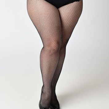 Plus Size Black Fishnet Tights