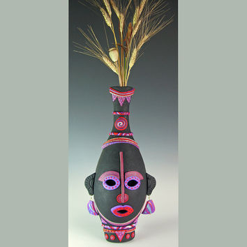 Village Wise Woman - African Style Art Mask Wall Sconce in Black, Gold and Pearl Polymer Clay. Earth Charity 100%