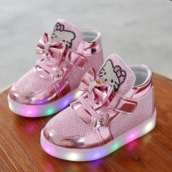Hello Kitty Rhinestone Led Shoes Girls Princess Cute Shoes With Lights