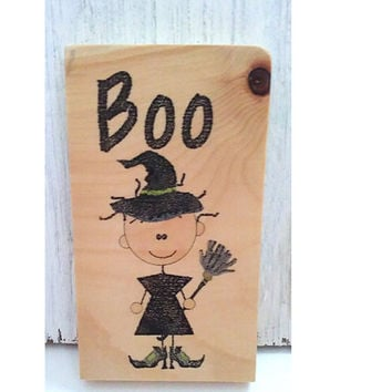 Wood Halloween sign-Rustic Halloween decor-Rustic Fall decor-Cute Halloween decoration-Wood boo sign-Halloween wood sign-Wood witch sign