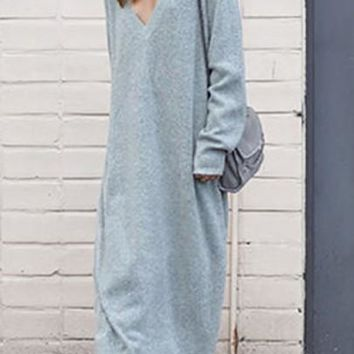 Grey Draped V-neck Long Sleeve Fashion Sweater Maxi Dress