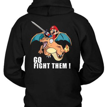 Pokemon And Mario Charizard Fire Hoodie Two Sided
