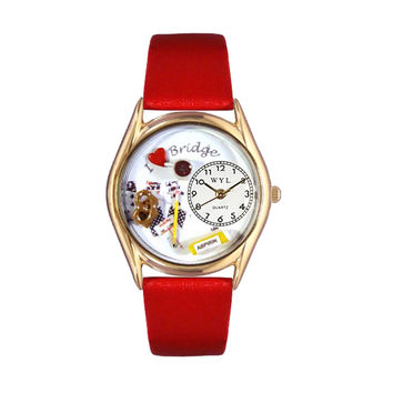Whimsical Watches Healthcare Nurse Gift Accessories Bridge Red Leather And Goldtone Watch