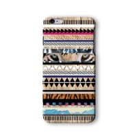 Iphone 6/6s Plus Case, Tiger Aztec Geometric on Wood Pattern 3d-sublimated, Mobile Accessories.