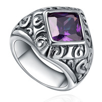 Stainless Steel Vintage Purple Cubic Zirconia Ring