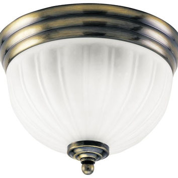 Two-Light Indoor Flush-Mount Ceiling Fixture, Antique Brass Finish with White Glass