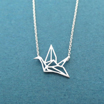 Paper crane, Gold, Silver, Necklace, Origami, Necklace, Birthday, Best friends, Sister, Gift, Jewelry