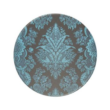 Aqua on Black Lacy Vintage Sandstone Coaster