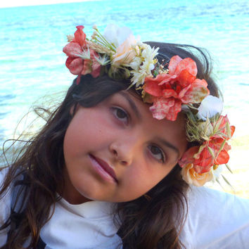 Kids Flower Crown, Little Girls Crown, Baby Boho Headpiece, Flower Girl Crown, Boho Chic Headpiece,