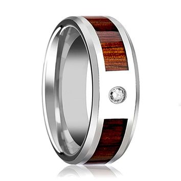 Tungsten Wood Ring - Koa Wood - Diamond Wedding Band - Tungsten Wedding Band - Polished Finish - 8mm - Tungsten Wedding Ring