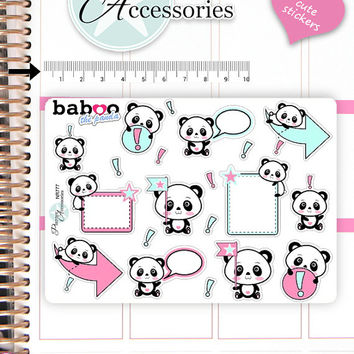 Kawaii Panda Stickers Cute Panda Stickers Panda Stickers Planner Stickers Hand Drawn Stickers Functional Stickers Decorative Stickers NR777