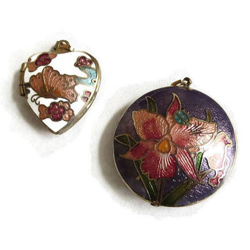 Vintage Guilloche Enamel Pendants & Pendant Locket Lot with Orchid and Butterfly