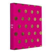 Pink Glam Faux Gold Polka Dot Custom 3 Ring Binder