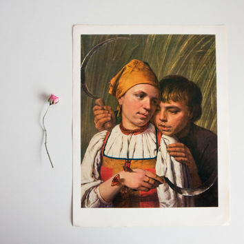 The Reapers Print - Alexey Venetsianov, Russian Artist Print, Wall Decor, Cottage, Autumn, Harvest, Farm, Thanksgiving