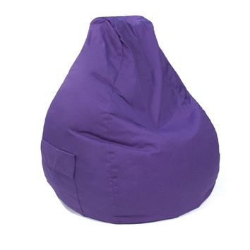 Large Tear Drop Demin Look Bean Bag with Pocket Purple