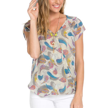 Short Sleeve Print Taupe Top