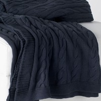 Charcoal Gray Favorite Cable Knit Sweater Throw