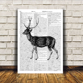Wall decor Dictionary print Deer poster Animal art RTA398