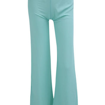 Green High-Waisted Zippered Chiffon Pants