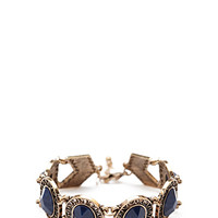 FOREVER 21 Cutout Faux Stone Bracelet Antic Gold/Blue One
