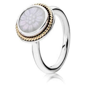 Authentic Pandora Jewelry - Daisy Signet w-14K and Mother of Pearl Ring