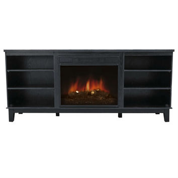 Contemporary Classic Electric Fireplace Space Heater TV Stand in Black
