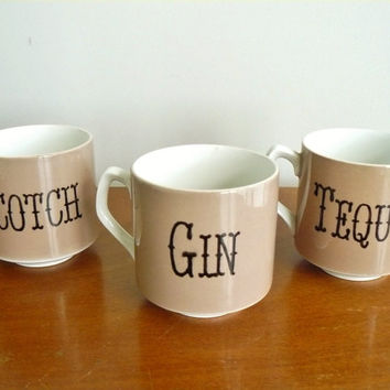 Scotch Gin Tequila hand painted vintage cups