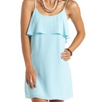 Strappy Back Flounce Chiffon Shift Dress - Pale Blue