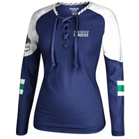 Vancouver Canucks Reebok Women's Lace-Up Long Sleeve Hockey Top – Royal Blue/White