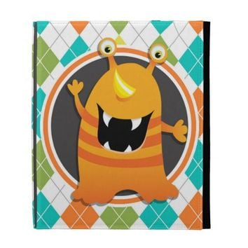 Orange Monster on Colorful Argyle Pattern iPad Folio Case