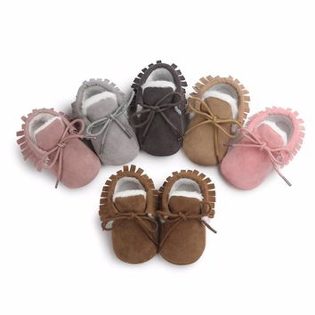 Baby Moccasins Infant Soft Moccs Shoes Bebe First walkers Fringe Soled Non-slip Footwe