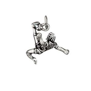 Sterling Silver Action Soccer Player Charm Pendant