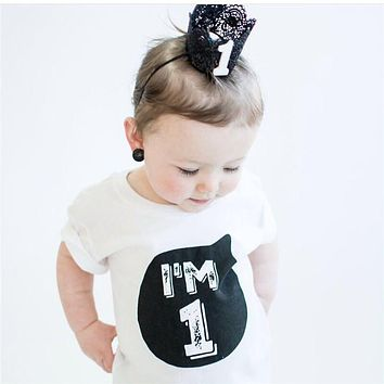 New Designs Kids Girls T-shirts Summer White T shirt Children Clothing Girl Tops First Birthday Party Wear Infant Bebes Clothes
