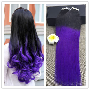 Full Shine Dip Dye Ombre Blayage Tape Hair Extensions Ombre Purple Hair Extensions 1b Purple Two Tone Color Remy Human Hair