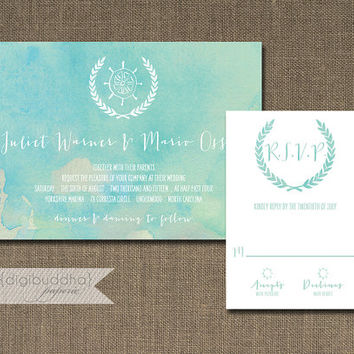Beach Wedding Invitation & RSVP Card 2 Piece Suite Watercolor Shabby Chic Blue Teal Aqua Ocean Turquoise Paint DIY or Printed - Juliet Style
