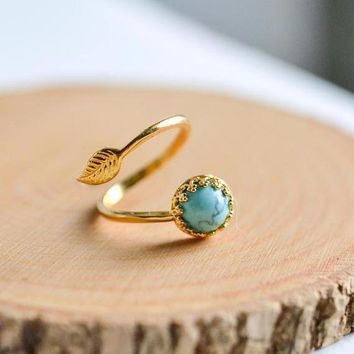 Turquoise Leaf Ring