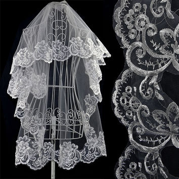 New Fashion 1.5M Bridal Cathedral Wedding White Veil Lace Vintage Mantilla Lace Veils