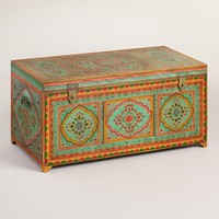 Large Teal Painted Wood Trunk