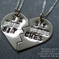 Best F&cking Bitches Necklace - BFF Split Heart Necklaces - Best Friends Forever - Mature Content